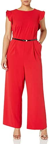 Calvin Klein Womens Plus Size Sleeveless Belted Jumpsuit with Ruffle Armhole