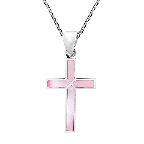 - AeraVida Cross of Faith Inlaid Pink Mother of Pearl .925 Sterling Silver Pendant Necklace