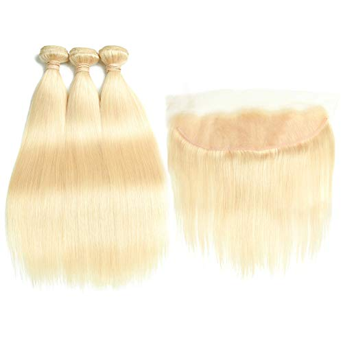 613 Blonde Malaysian Straight Hair Bundles With Frontal 613 Platinum Blonde Human Hair 3 Bundles With Lace Frontal Remy Extension Can Be Dyed (242628+20 inch, bundles with -
