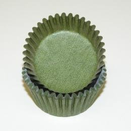 CakeSupplyShop Olive Solid Colored Mini Cupcake Liners - Baking Cups -50pack with Edible Sparkle Flakes