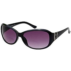 Edge I-Wear women's Oval Bifocal Sun Reader with Gradient Lens 39003IBFAP-+2.50-1(BLK)