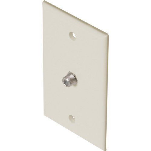 Steren 200-251LA Single F Connector Wall Plate - Light - Steren Single Ivory