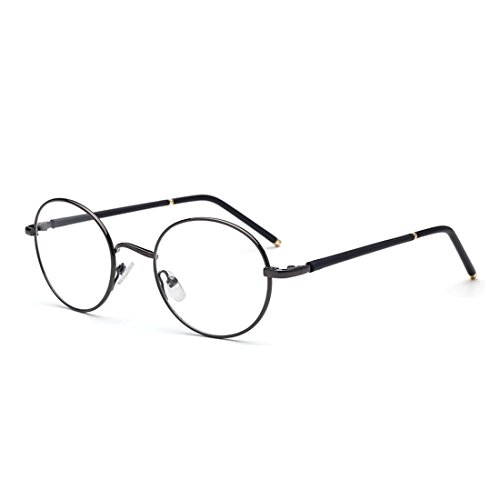 D.King Round Designer Prescription Metal Eyeglasses Frames with Clear Lens Gun-Gray