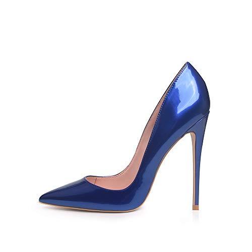 Blue High Heel Pump - Elisabet Tang High Heels, Womens Pointed Toe Slip on Stilettos Party Wedding Pumps Basic Shoes RB 12 Royal Blue