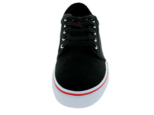 Adio Melbourne runde Kappe Canvas Sneakers Schwarz Rot