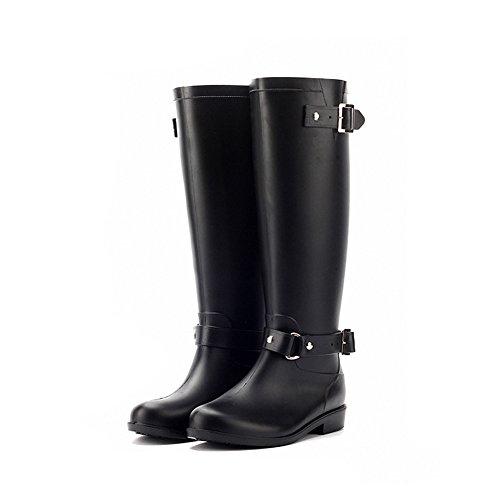 Colorxy Womens Stylish Snow Rain Waterproof Tall Wellies Adjustable Buckle Strap Knee High Zip Rain Wellington (Buckle Strap Knee High)