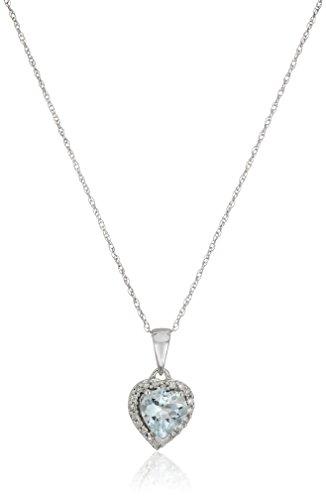 10k White Gold Aquamarine Heart and Diamond Pendant Necklace (1/10cttw,H-I Color, I1-I2 Clarity), (Aquamarine 10k Gold Pendant)