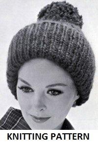 Vintage KNITTING PATTERN, Ladys Giant Rib Hat, PRINT ON DEMAND, WHITE PAPER