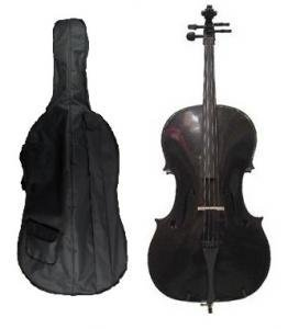 Merano 3/4 Size Black Cello with Hard Case, Bag and Bow+2 Sets of Strings+Cello Stand+Music Stand+Metro Tuner+Mute+Rosin