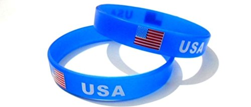 - AccessCube Multicolor Country Flag Unisex Silicone Bracelet Rubber Sport Fashion Wristband Cuff Size 8 Inches 20.2 Cm (USA/United States)