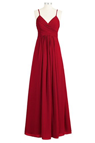 Tivansi Women's Long Spaghetti Chiffon V-Neck Bridesmaid Dresses burgundy Size 24
