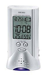 Seiko Advanced Technology Travel Alarm Clock Silver-Tone Metallic Case