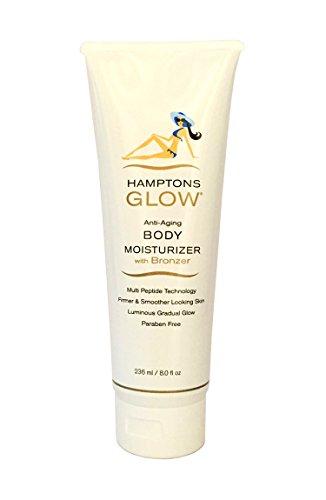 (Hamptons Glow Gradual Tanner Anti-Aging Daily Body Moisturizer Bronzer, Paraben & Alcohol Free, 8oz)