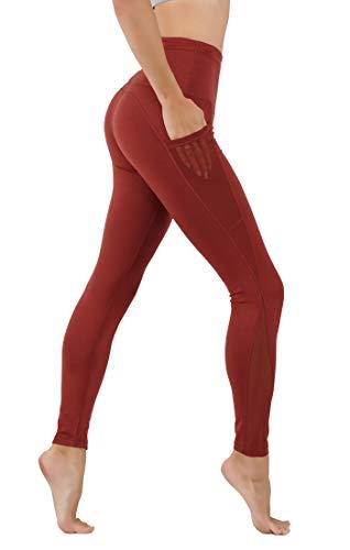 CodeFit Yoga Pants Power Flex Dry-Fit Mesh-Paneled in Both Side Leg, Exposed Back Zipper for Storing Full Length Leggings (M USA 4-6, CF674-M.RST)