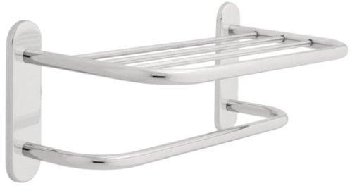Franklin Brass 2787PC, Bath Hardware Accessory, 18-Inch Towel Shelf with One Bar Concealed (Brass Metal Shelf Bath Hardware)