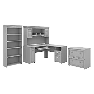 Bush Furniture Fairview L Shaped Desk with Hutch, Bookcase and Lateral File Cabinet in Antique White