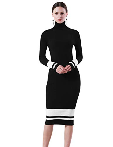 PrettyGuide Women Slim Fit Ribbed Turtleneck Long Sleeve Midi Knit Sweater Dress Black with White S