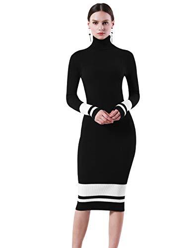 优雅高贵,高领针织衫连衣裙16色
