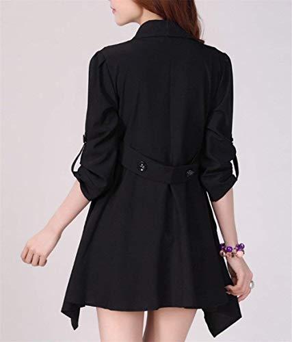 Button Moda Monocromo Outerwear Autunno Elegante Bavero Manica Transizione Schwarz Di Giacche Giaccone Giacca Casual Lunga Donna Irregular Fashion Ragazza Hx0I8wxq