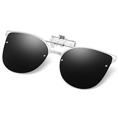 Clip-on Sunglasses with Polarized Mirrored Lens - Anti-Glare UV 400 Sunglasses Clip on Prescription Eyeglass Driving Fishing (Cat Eye Black)