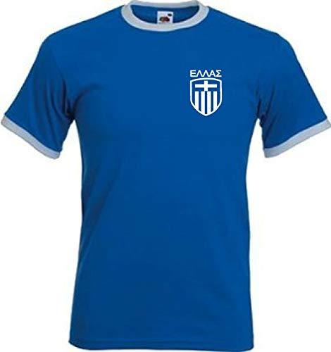 Greece Griego Ελλάδος Estilo Retro Equipo De Fútbol camiseta – Todas Las Tallas – Azul / Blanco, Mediana