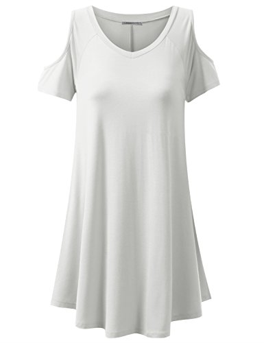 URBANCLEO Womens Off The Shoulder Elong Tunic Top Mini TShirt Dress Ivory 2XL