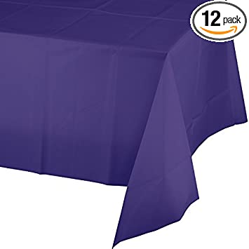 54 x 108 01287 Pack of 12 Creative Converting Plastic Table cover Package Of 1, 54 x 108 Purple Color