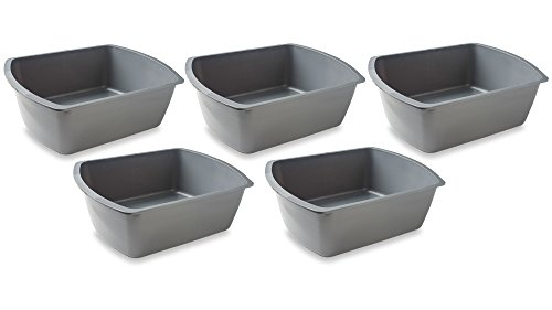 Bedside Wash Basin - 8 Quart Gray - Graduated Plastic Wash Basin for Multi Purpose Use (5) by PrimeMed