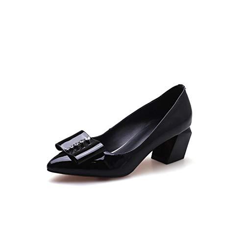 ZHZNVX Zapatos de Mujer Nappa Leather Spring & Summer Comfort Tacones Chunky Heel Black/Wine Black