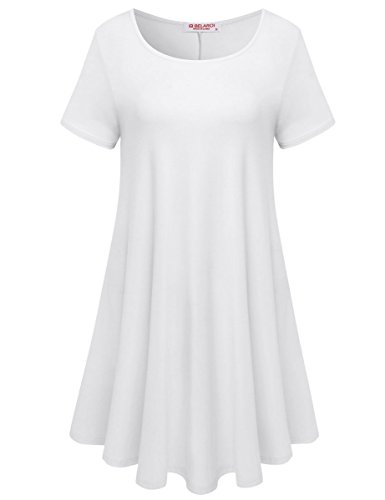 White Tunic Dress - BELAROI Womens Comfy Swing Tunic Short Sleeve Solid T-Shirt Dress (3X, White)