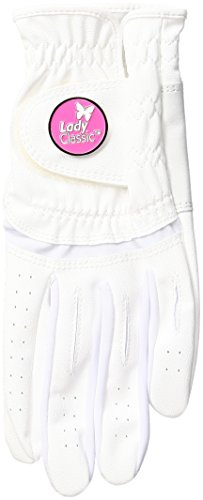 Lady Classic Women's Soft Flex Gloves with Magnetic Ball Marker, Left Hand, White, Small
