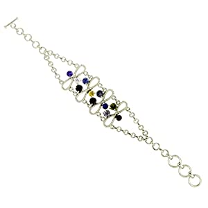 Gorgeous Multi Gemstone 925 Sterling Silver Infinity Link Bracelet For Ladies