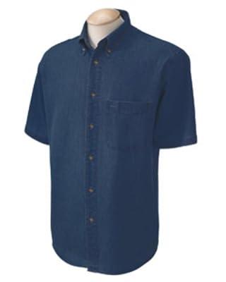 Harriton mens Short-Sleeve Denim Shirt (M550S)
