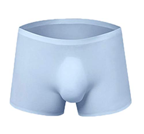 Soojun Mens Without Any Stitching Ice Silk Pouch Boxer Briefs, Lightblue, fits Like US Medium