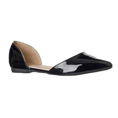 (Riverberry Women's Riley Pointed Toe, D'Orsay Open Side Flat Shoe, Black Patent, 9)