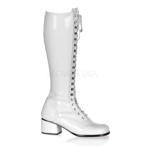 Funtasma by Pleaser Women's Retro-302 Lace Up Gogo Boot,White Stretch Patent,9 M US -