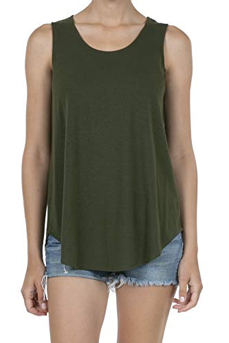 (SHOP DORDOR 9052 Women's Soft Jersey Knit Scoop Neck Sleeveless Loose Tank Top DK.Olive XL)