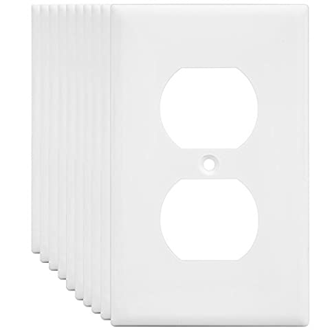 Duplex Wall Plates Kit by Enerlites 8821-W Home Electrical Outlet Cover, 1-Gang Standard Size, Unbreakable Polycarbonate Material, White - 10 Pack Dual Port Replacement Receptacle Faceplates - Diamond Protector Faceplate