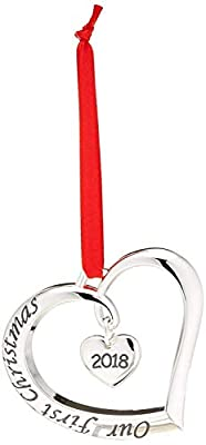 Klikel 2018 Our First Christmas Ornament | Christmas Heart Ornament | with Red Ribbon | Engaged Married Ornament