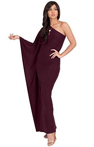 KOH KOH Plus Size Womens Long One Off The Shoulder Evening Cocktail Bridesmaid Wedding Party Tube Guest Summer Formal Flowy Elegant Sexy Gown Gowns Maxi Dress Dresses, Maroon Wine Red 2XL 18-20