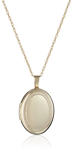 14k Clasp Gold Hidden (14k Gold-Filled Oval Milgrain Edge Locket Necklace, 18