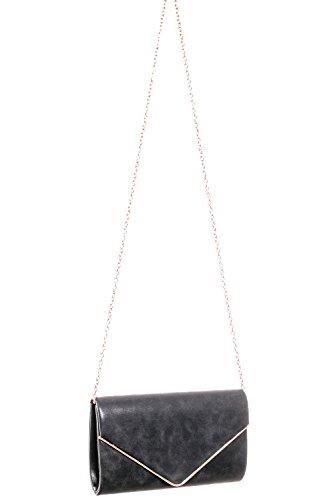 soirée Bandoulière sac pochette Clum Métallique 02 à sac de Gadzo Noir enveloppe Sac LOOK 6qHna