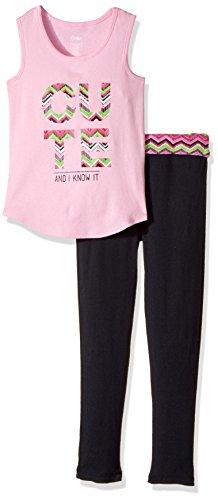 Pj Tank (Candie's Big Girls' Yoga Tank and Legging Set, Pink/Black, M)