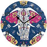 Dozili Indian Elephant Decorative Wooden Round Wall Clock Ar