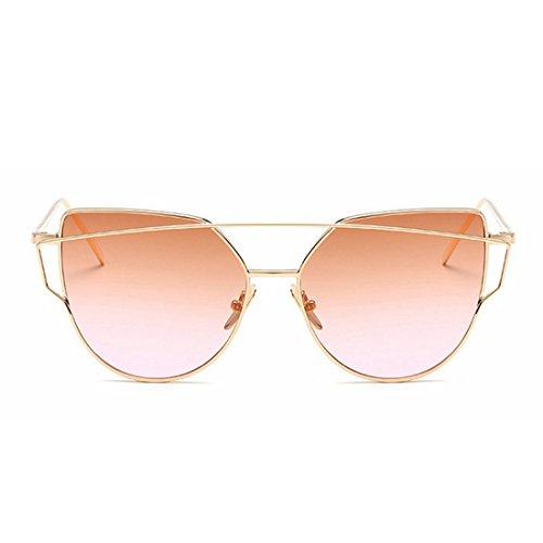 Soleil Tea Gold pour Cat de Métal Frame Gold LiShihuan Frame Color Frame Blue Eye Mirrored Lens Lenses Lens Fashion Femmes Flat Lunettes qFRxwCE