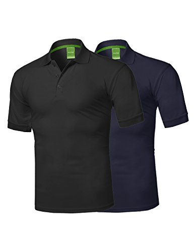 t Active Athletic Golf Short Sleeves Polo Shirt Black/Navy M ()