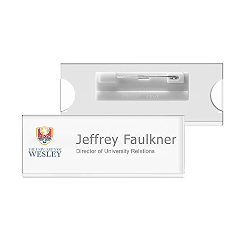 SB-15-C Reusable Window Name Badge Tag (BULK PURCHASE 12PCS SPECIAL OFFER) with Pin / Window Size 70x25mm / Color: CLEAR