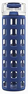 Ello Syndicate BPA-Free Glass Water Bottle with Flip Lid, Bold Blue, 20 Oz.