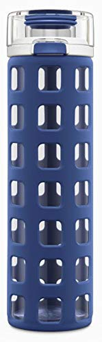 Ello Syndicate Glass Water Bottle with One-Touch Flip Lid | 20 oz | Bold Blue