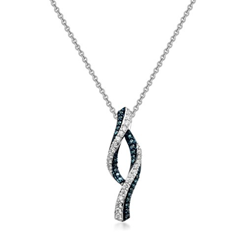 Jewelili Sterling Silver Blue And White Diamond Pendant Necklace, ()